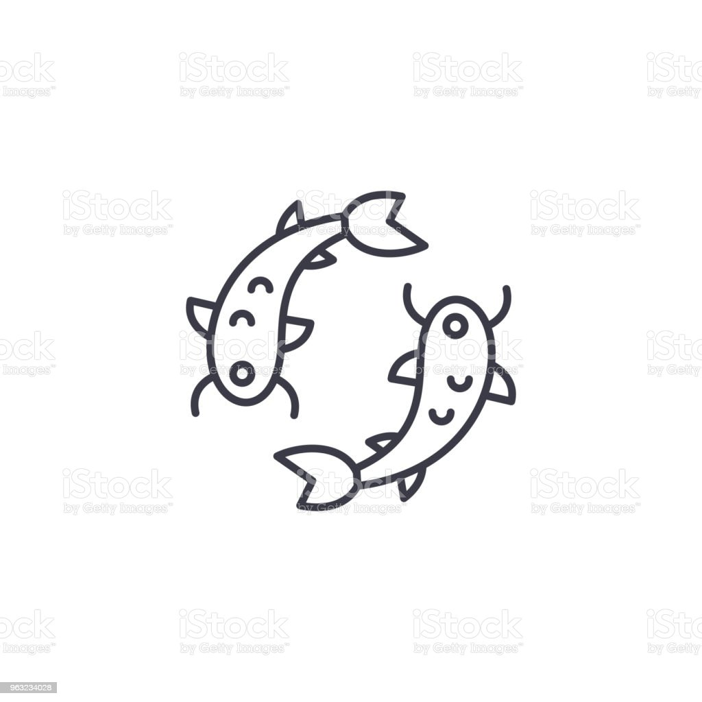 Chinese Fish Linear Icon Concept Chinese Fish Line Vector Sign