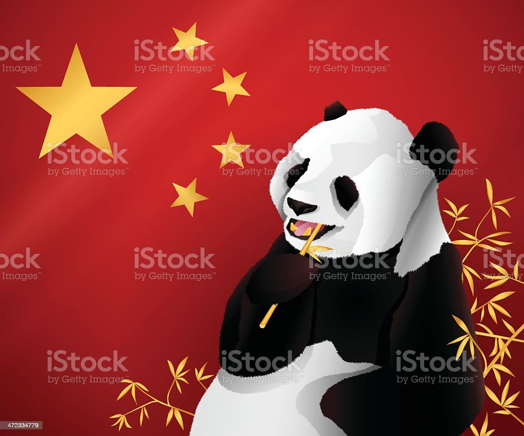 Chinese Flag and Panda royalty-free stock vector art