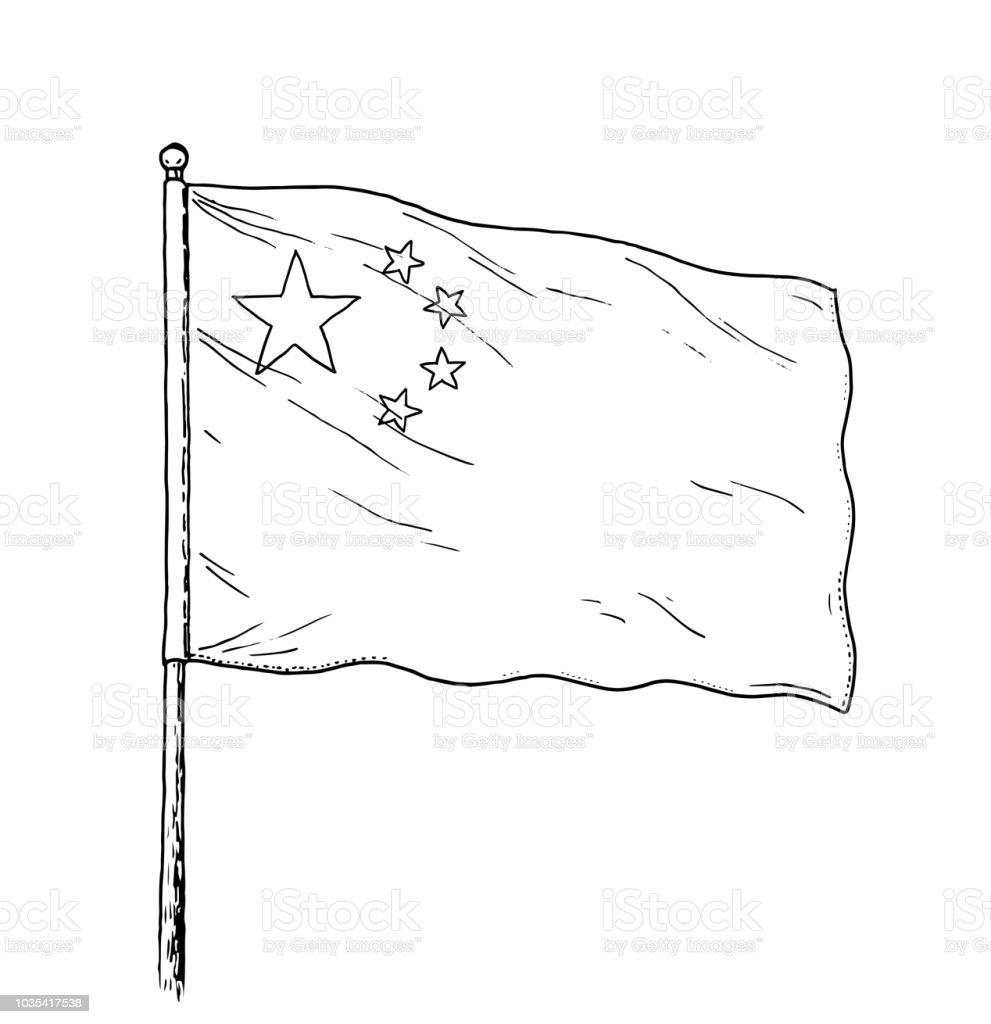 Cince Cizim Vintage Cin Bayragi Cizimi Gibi Bayrak Tek Renkli