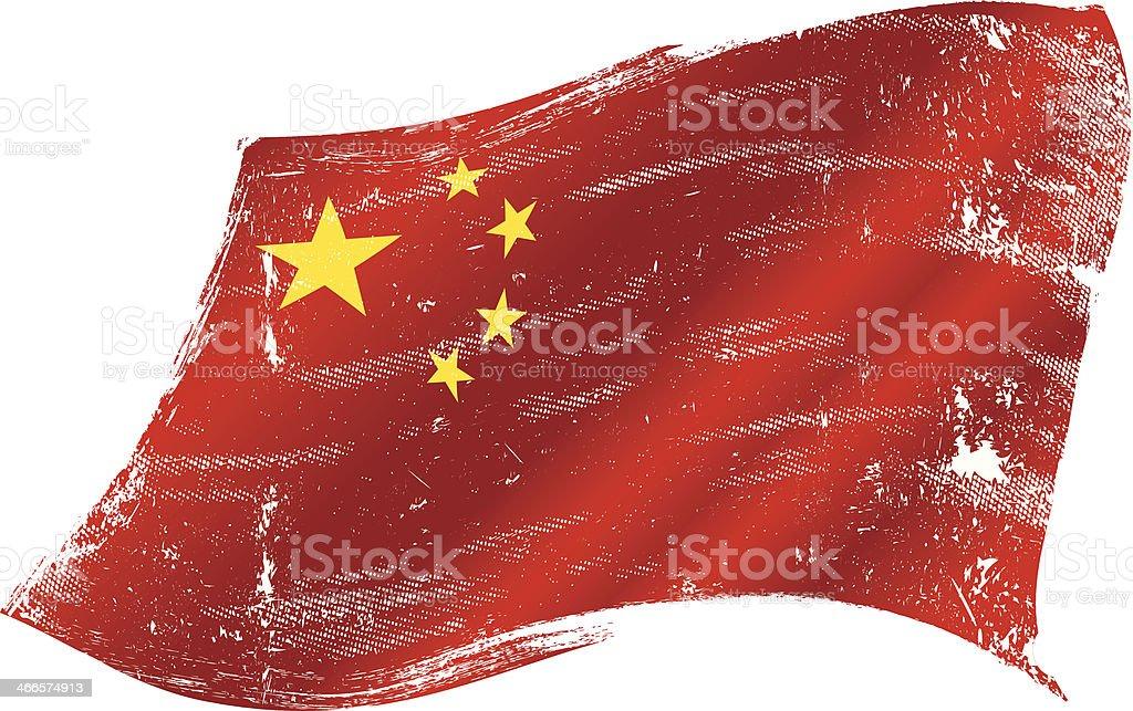 Chinese flag grunge vector art illustration