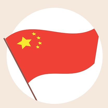 Chinese flag isolated, round icon, sign, emblem, flat vector stock illustration as a symbol of patriotism in China, nationality