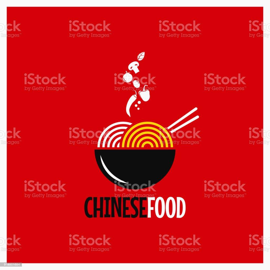 Comida chinesa. Macarrão chinês ou massas em fundo vermelho - Vetor de Alimentação Saudável royalty-free