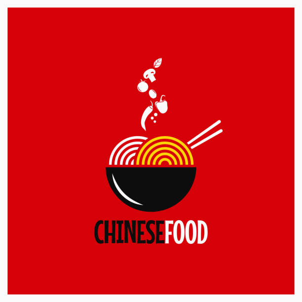 chinese food . chinese noodles or pasta on red background - chinese food stock illustrations, clip art, cartoons, & icons