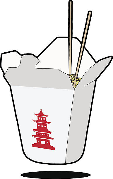 chinese food & chopsticks - chinese food stock illustrations, clip art, cartoons, & icons