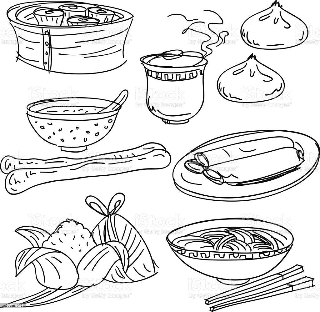 Chinese food collection in Black and White vector art illustration