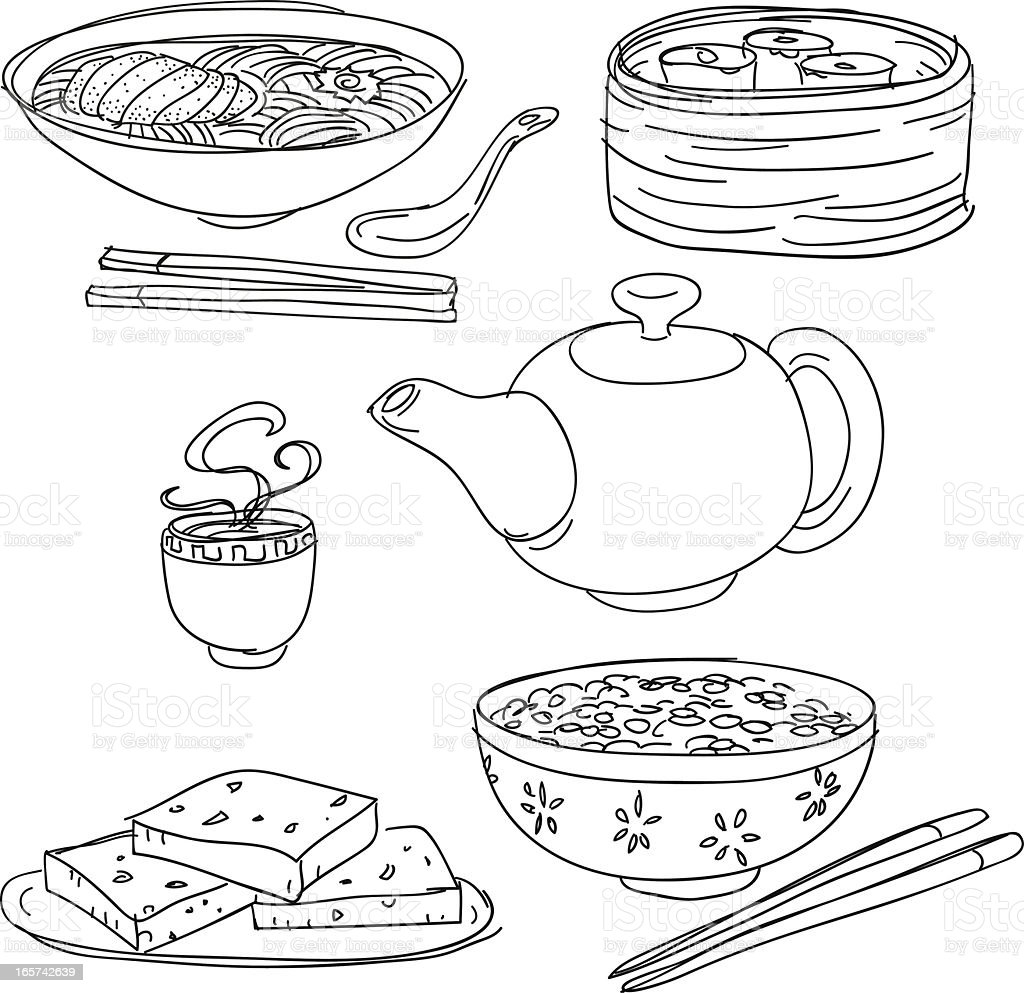 Chinese food collection vector art illustration