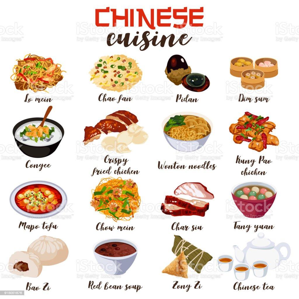 Chinese Food Cuisine Illustration vector art illustration