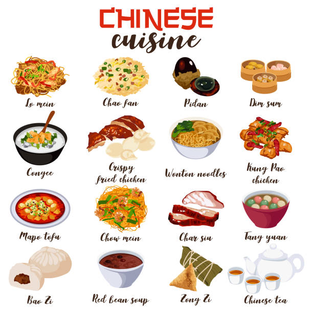 chinese food cuisine illustration - chinese food stock illustrations, clip art, cartoons, & icons