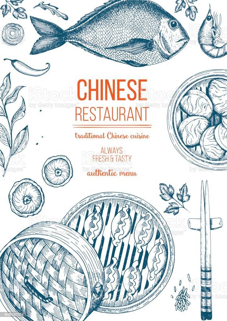 Marco de la comida china. Ilustración de vector. - ilustración de arte vectorial