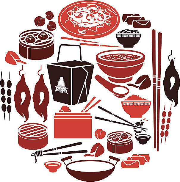 chinese food icon set - chinese food stock illustrations, clip art, cartoons, & icons