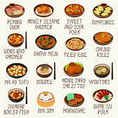 Chinese cuisine dishes vector illustration set