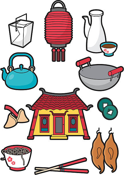 Chinese food icons A selection of colour chinese food icons. Ideal for use on restaurant menus. Click below for more food and drink images american pekin duck stock illustrations