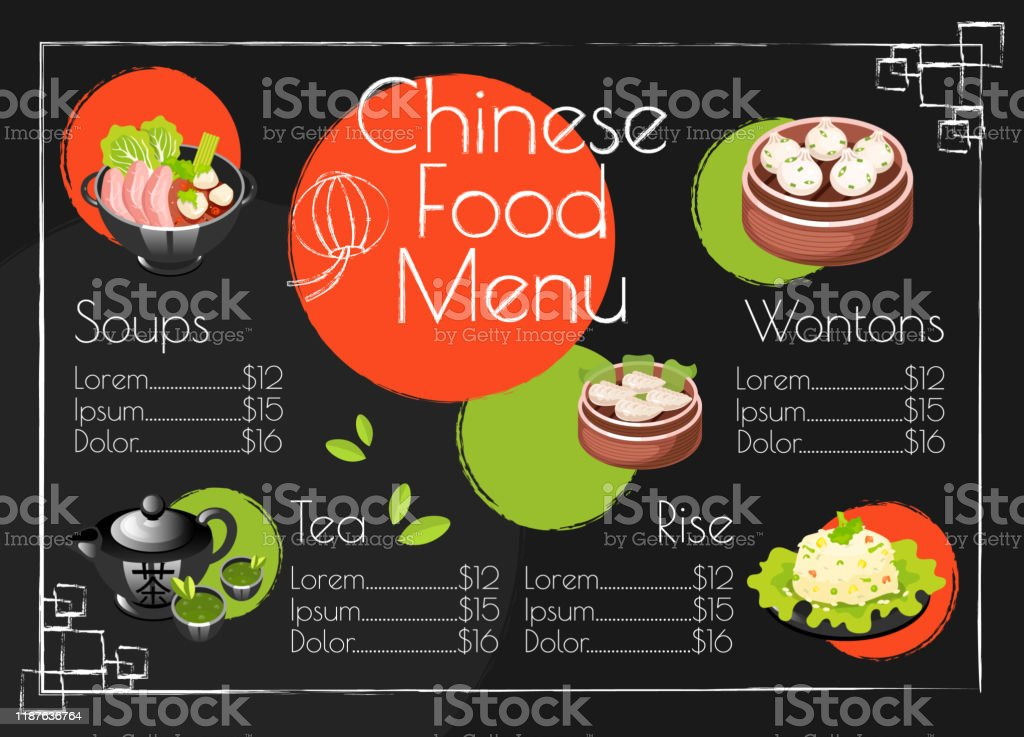 Chinese Food Menu Template Asian Cuisine Traditional Dishes Print Design With Cartoon Icons Concept Vector Illustrations Restaurant Cafe Banner Flyer Brochure Page With Food Prices Layout Stock Illustration Download Image Now
