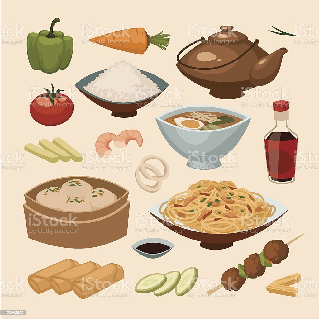 Chinese food. Objects set vector art illustration
