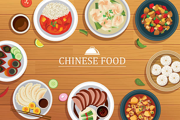 chinese food on a wooden background.vector chinese food top view - chinese food stock illustrations, clip art, cartoons, & icons