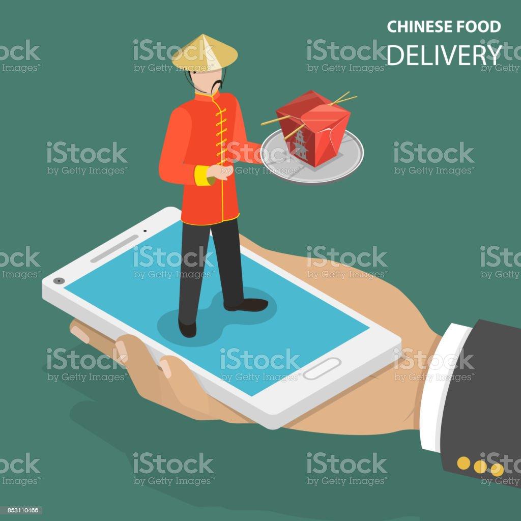 Chinesisches Essen online bestellen flach isometrische low-Poly-Vektor-Konzept. Lizenzfreies chinesisches essen online bestellen flach isometrische lowpolyvektorkonzept stock vektor art und mehr bilder von asiatisch