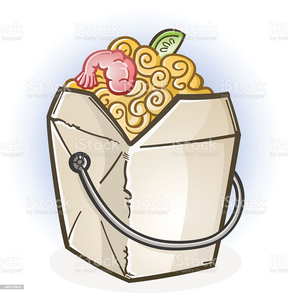 chinese food take out box cartoon stock vector art 486420934 istock