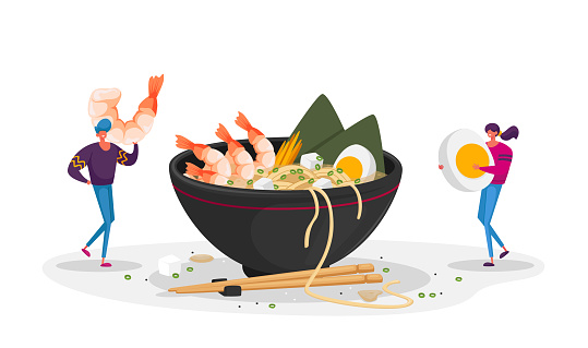 Chinese Food, Tiny Characters Bring Ingredients to Huge Bowl with Ramen Noodles. Man and Woman in Asian Restaurant