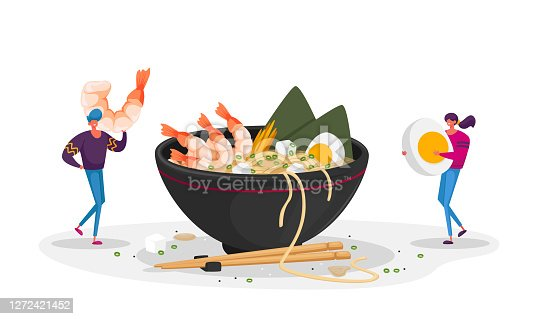 istock Chinese Food, Tiny Characters Bring Ingredients to Huge Bowl with Ramen Noodles. Man and Woman in Asian Restaurant 1272421452