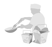 Asian fast food restaurant illustration and background in greyscale