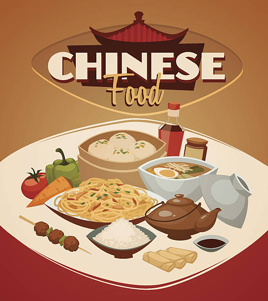 chinese food. vector background - chinese food stock illustrations, clip art, cartoons, & icons