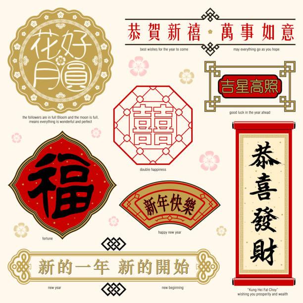 chiński ramki i tekst - new year stock illustrations