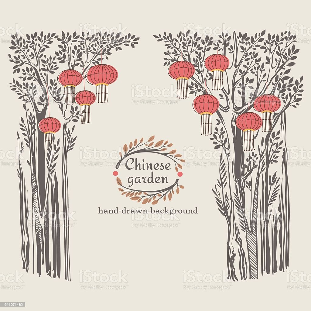 Chinese Garden Decorations vector art illustration