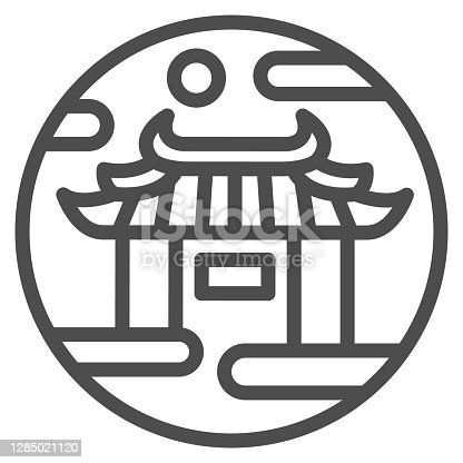 istock Chinese gates line icon, chinese mid autumn festival concept, Lunar palace sign on white background, national architecture icon in outline style for mobile concept. Vector graphics. 1285021120
