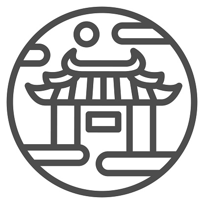 Chinese gates line icon, chinese mid autumn festival concept, Lunar palace sign on white background, national architecture icon in outline style for mobile concept. Vector graphics.