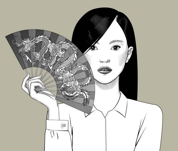 ilustraciones, imágenes clip art, dibujos animados e iconos de stock de chica china sosteniendo un ventilador con un dragón en la mano - asian woman