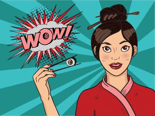 ilustrações de stock, clip art, desenhos animados e ícones de chinese girl in.  young woman is holding sushi with chopsticks. - woman eating salmon
