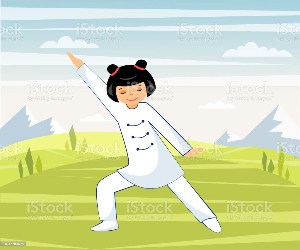 Chinese Girl Performs Taichi And Qigong Exercises Outdoors