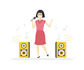 Chinese girl singing - cartoon people characters illustration on white background. Quality composition with a cute teenager with a microphone performing, image of speakers, musical notes