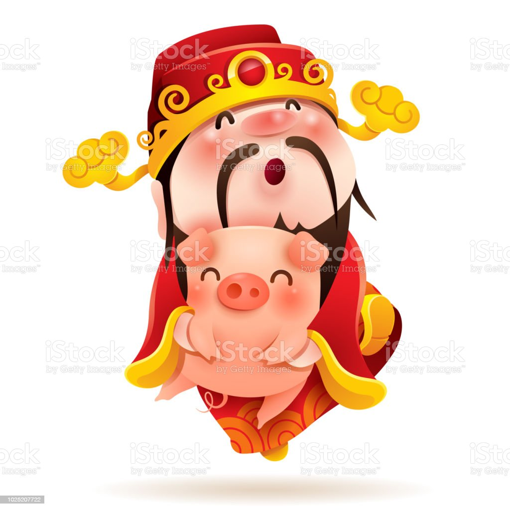 Chinese God of Wealth and Little Pig. Chinese New Year. The year of the pig. vector art illustration