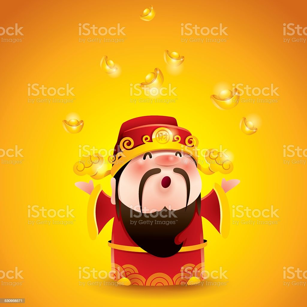 Chinese God of Wealth. Falling gold bullions. vector art illustration