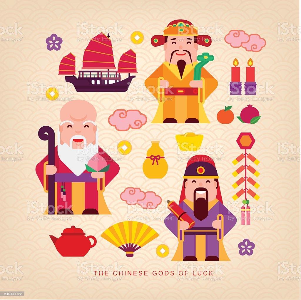 Chinese gods of luck vector art illustration