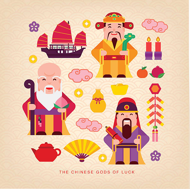 Chinese gods of luck vector art illustration