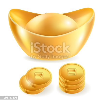 istock Chinese gold ingot isolated elements. Vector illustrations. 1296167306