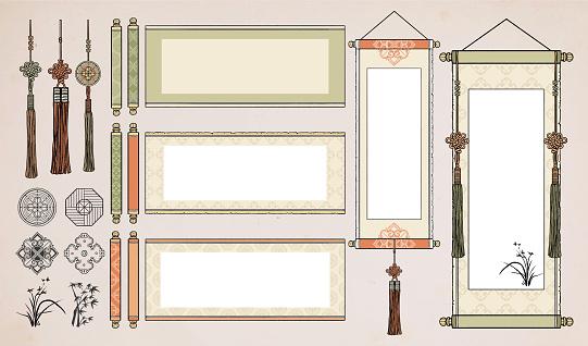 Chinese Hanging Scroll / Oriental Vintage asian scroll / Korean, Japanese scroll paper.