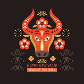 Chinese Happy new year. Year of the bull.  Happy new year greetings, Year of the OX. Greeting card