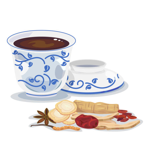 chinese herbs A hot cup of mixed chinese herb, chinese medicine. jujube candy stock illustrations