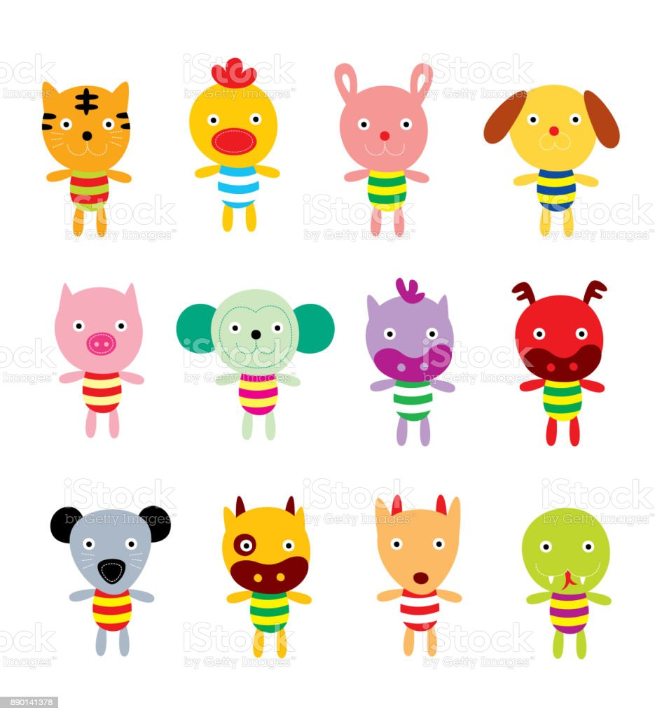 12 chinese horoscope animals vector vector art illustration