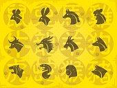 full set vector symbols of chinese horoscope with grunge background...