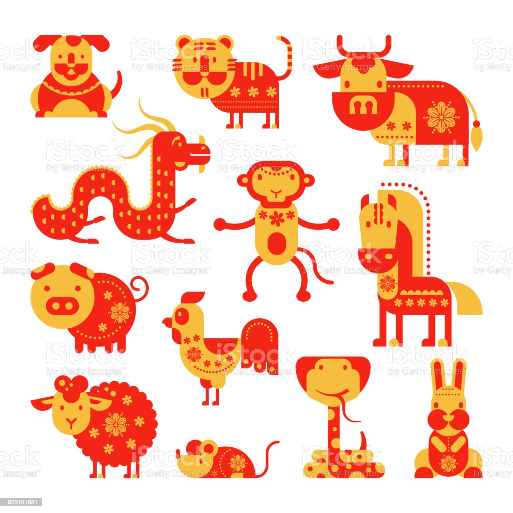 Chinese horoscope vector horoscopy animal symbol of astrological calendar in China illustration set of animalistic asian characters dog, dragon or horse for greeting cards isolated on white background vector art illustration