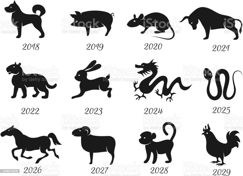 Chinese Horoscope Zodiac Animals Vector Symbols Of Year Stock Illustration Download Image Now Istock