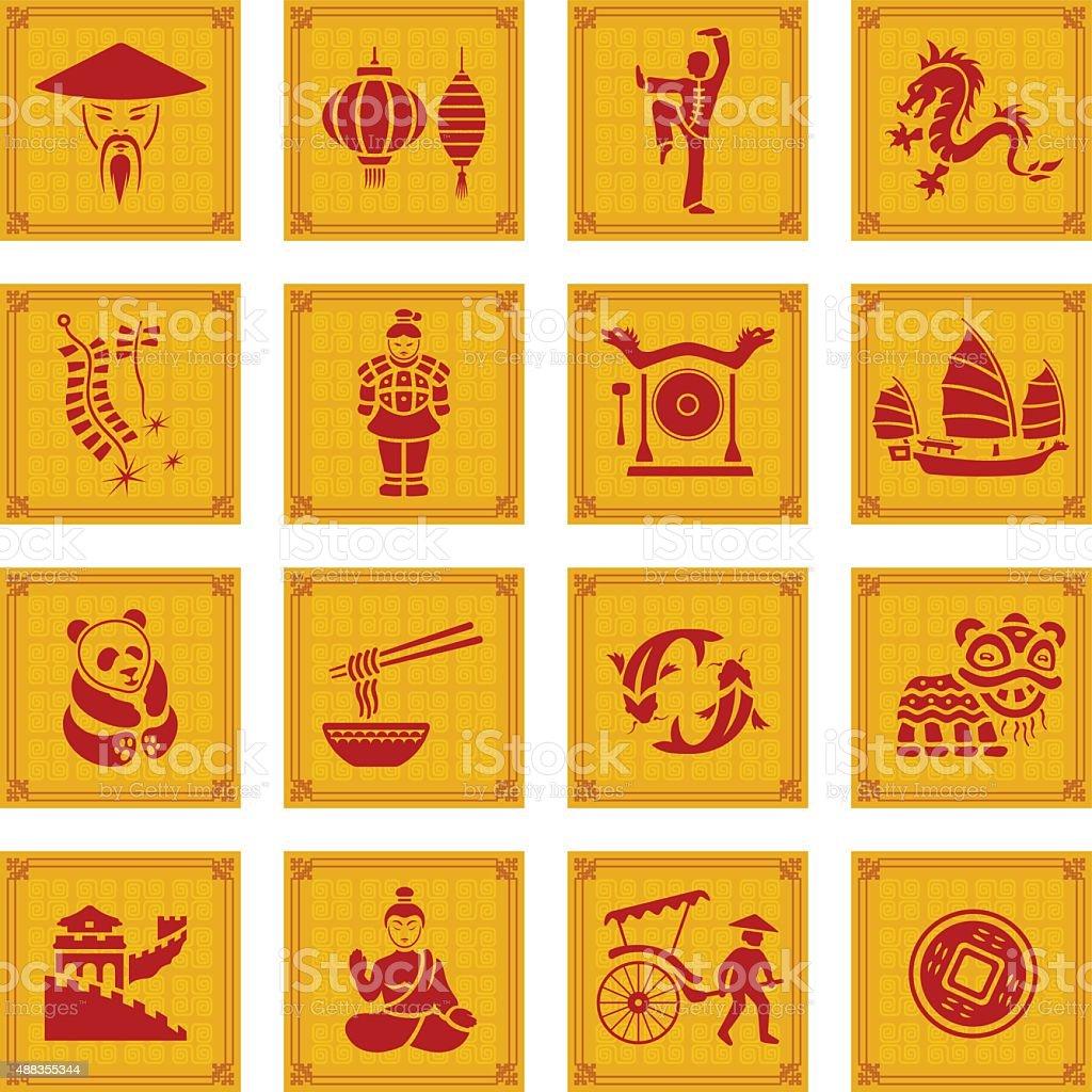 Conjunto de iconos de China - ilustración de arte vectorial
