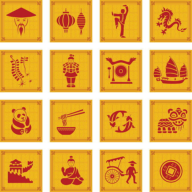 chinese icon set - chinese food stock illustrations, clip art, cartoons, & icons