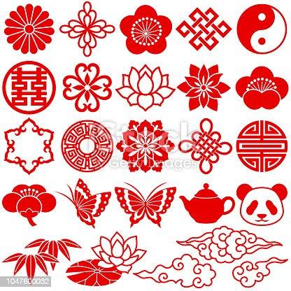 Set of Chinese decorative icons.