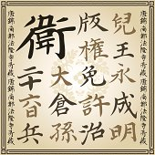 Chinese Japanese calligraphic characters writing vector illustration set