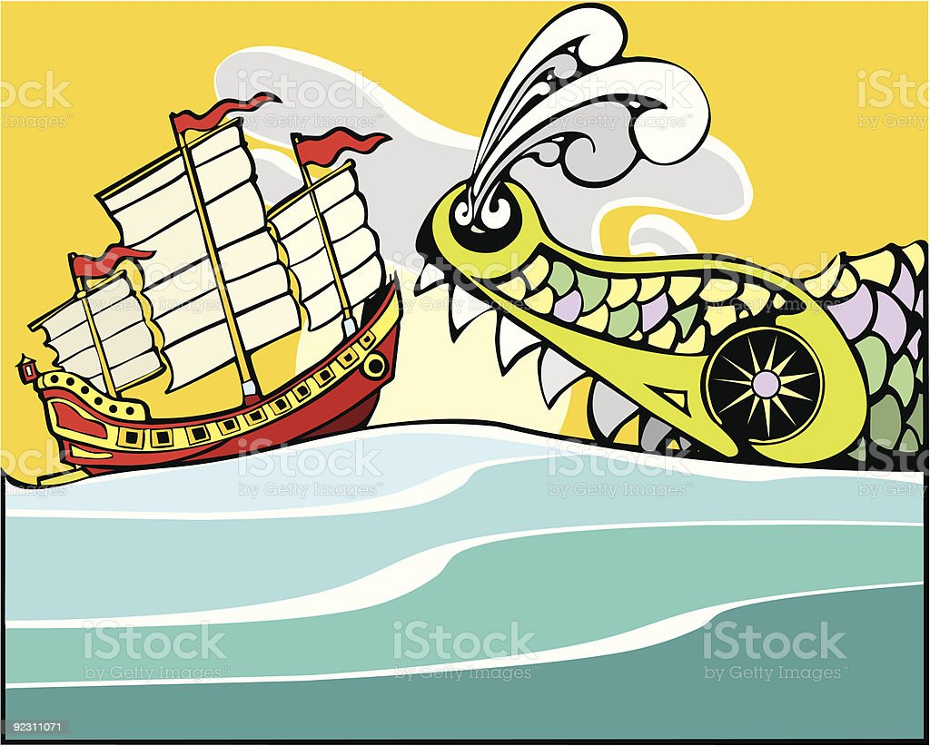 Chinese Junk and Sea Monster. vector art illustration